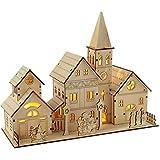 WeRChristmas Dorf aus Holz mit Kirche, 28 cm, beleuchtet, Weihnachtsdekoration, mit 4 Warm-weißen LED-Leuchten