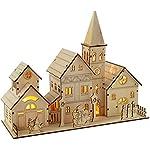 WeRChristmas - Decorazione natalizia in legno intagliato, complesso chiesa, con illuminazione a LED, 4 luci bianco caldo, 28 cm