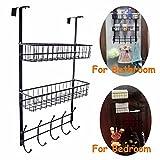 GB4 Tür-Haken zum Aufhängen mit drei Stufen mit Haken und 3mit verstellbarer Korb Regal mit Haken für Mäntel/Hüte Bademantel Badetücher Schwarz