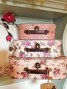 3 er set vintage rose koffer lagerk sten k che haushalt. Black Bedroom Furniture Sets. Home Design Ideas