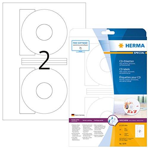 HERMA 5079 CD-Etiketten inkl. Positionierhilfe DIN A4 blickdicht (Ø 116 mm, 25 Blatt, Papier, matt) selbstklebend, bedruckbar, permanent haftende CD-Aufkleber, 50 Klebeetiketten, weiß (Cd-cover-etiketten)