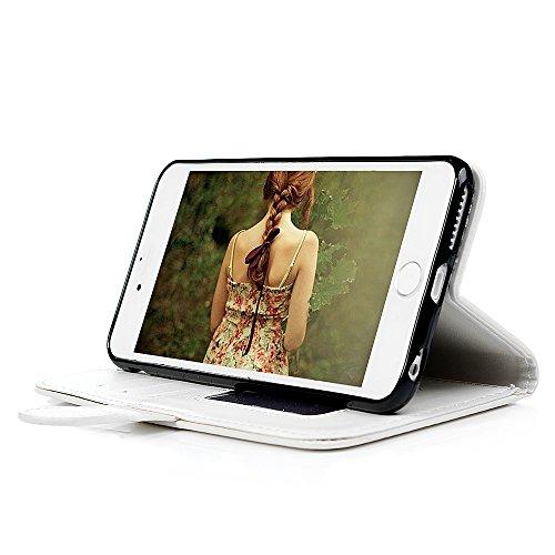 Badalink Hülle für iPhone 6 Plus 6s Plus Rosarot Einhorn Handyhülle Leder PU Case Cover Magnet Flip Case Schutzhülle Kartensteckplätzen und Ständer Handytasche mit Eingabestifte und Staubschutz Stecke Weiß