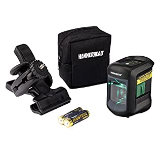 HAMMERHEAD HLCLG01 Green Beam Compact Self-Leveling Cross Line Laser with Adjustable Mounting Clamp and Storage Bag