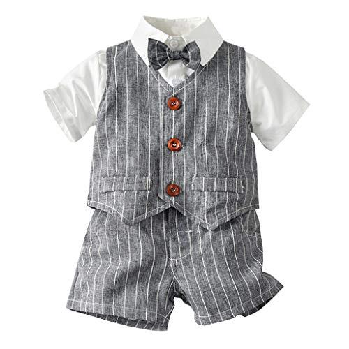 Jungs Set Kleinkind Gentleman Fliege T-Shirt Plaid gestreifte Weste + Shorts Outfit