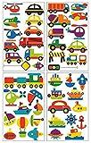 plot4u 45-teiliges Verschiedene Fahrzeuge Wandtattoo Set Kinderzimmer Babyzimmer in 3 Größen (4x16x26cm Mehrfarbig)