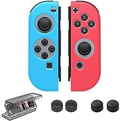 Nintendo interruttore joy-con gel guardia, presa antiscivolo custodia in silicone con cappucci per pollice, gioco di carte esclusivamente per Nintendo switch (sinistra blu rosso)