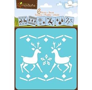 Avenue Mandarine, 1 Set de 6 Pochoirs enfants, Noël 2