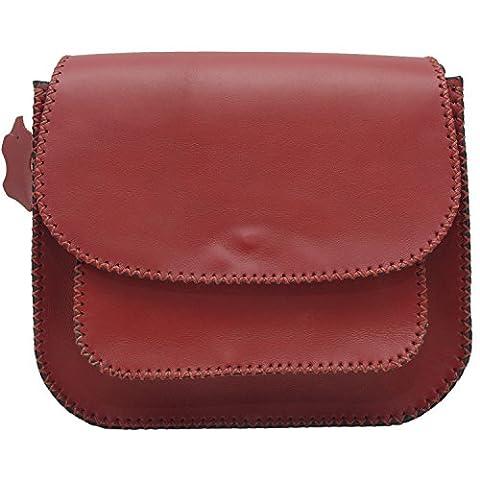 Koson Leather Burgunder-handgemachter Schultaschen-Schulter-Handtaschen-Kurier-Beutel