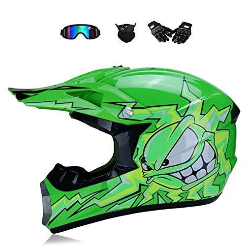 BMAQ Casco Motocross Niño, Casco de Moto Verde para Descensos de Bici...