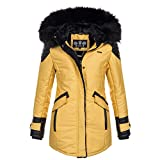 Marikoo ZAUBERFEE Damen Mantel Wintermantel Jacke Parka warm XS-XXL 5Farben, Größe:M / 38;Farbe:Gold