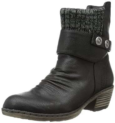 Rieker 93771-00, Damen Halbschaft Cowboystiefel, Schwarz (schwarz/black-grey / 00), 37 EU (4 Damen UK)