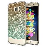 Samsung Galaxy S7 Edge Funda Carcasa de NALIA, Protectora Movil TPU Silicona Ultra-Fina Gel Transparente, Cubierta Goma Bumper Cover Case Clear para Samsung S7-Edge, Designs:Mandala Turquesa Verde