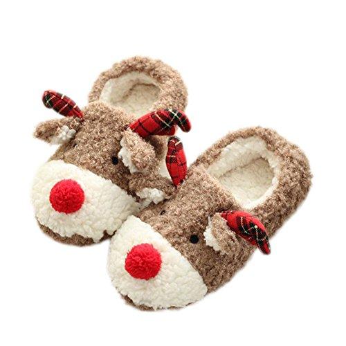 Doitsa Pantoffeln Winter Baumwolle Pantoffeln Plüsch Wärme Weiche Hausschuhe Home Rutschfeste Slippers mit Cartoon Elch für Mädchen Damen EUR 38