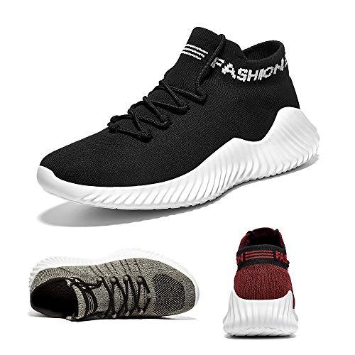 Uomo Scarpe da Corsa Scarpe da Ginnastica Scarpe Comode per Camminare Jogging Sneakers Black 46