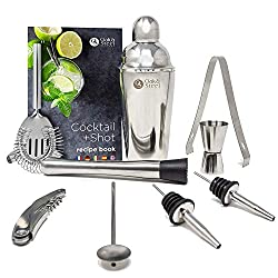 10Pcs Professionelles Cocktail Shaker Set +Cocktailbuch - Shaker, Barstößel, Messbecher, Barlöffel, Korkenzieher, Sieb, Zange & 2 Ausgießer - Edelstahl Cocktail Mixer Bar Set| Elegante Geschenkbox