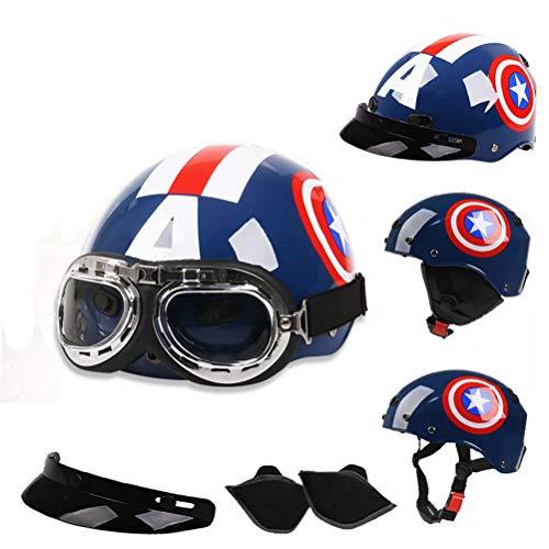 Männer Frauen Universal Captain America Motorradhelm Leichte Komfort Cartoon Elektrische Fahrrad Motorradhelm Roller Vier Jahreszeiten Schutzhelm - Captain America-fahrrad