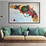 Pintura de lienzo abstracta creativa Arte de la pared Gris Moderno Estilo de aceite grande Buda Impresión de la pared en lienzo Decoraciones de la sala de estar en el hogar A 50 * 75 cm