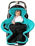 ByBoom® - Ganzjahres Fußsack Cocoon für Kinderwagen, Buggy auch Babyschale z.B. Maxi-Cosi; MADE IN EU, Farbe:Anthrazit/Aqua