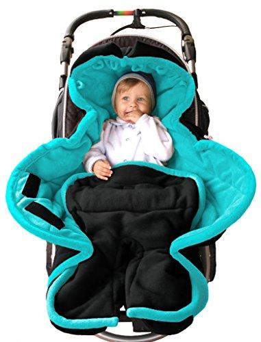 Preisvergleich Produktbild ByBoom® - Ganzjahres Fußsack Cocoon für Kinderwagen, Buggy auch Babyschale z.B. Maxi-Cosi; MADE IN EU, Farbe:Anthrazit/Aqua