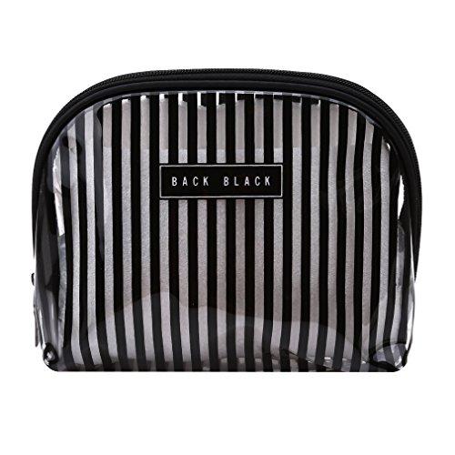 Pinhan Transparent PVC Lavage Imperméable Cosmétique Maquillage Sac Femmes Portable Zipper Voyage Ensemble De Stockage, Noir