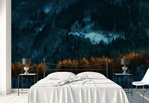 Vlies Fototapete Fotomural - Wandbild - Tapete - Wald Bäume Schnee Hütte Entfernung - Thema Wald und Bäume - XXL - 416cm x 290cm (BxH) - 4 Teilig - Gedrückt auf 130gsm Vlies - 1X-876967VEXXXXL