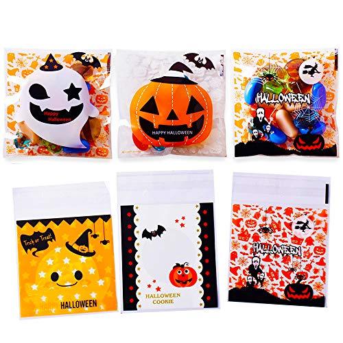 300pcs Bolsa de Caramelo Bolsa de Plástico Autoadhesivas Bolsas Galletas Halloween Navidad Fiesta Cumpleaños Regalo (300pcs-Halloween)
