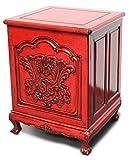 Asien Lifestyle Vintage Schränkchen Rot China (42 x 45 x 60 cm) Ulmenholz - Schlafzimmer Nachtkästchen