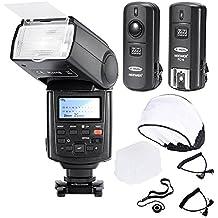 Neewer® Speedlight E-TTL Profesional *Sincronización de Alta Velocidad* Kit de Flash para CANON Rebel T4i T3i T3 XS T2i T1i Xsi Xti, EOS 650D 600D 1100D 1000D 550D 500D 450D 400D 5D Mark III 5D Mark II 7D 60D 50D 40D 30D DSLR Cámaras, Incluye: Neewer NW680/TT680 Pro E-TTL Flash de Enfoque Automático + 2.4GHz 3-en-1 Disparador Inalámbrico + 2 Cables(C1-Cord(cuerda) + C3-Cord(cuerda) Cables) + Difusor de Flash Duro y Suave + Soporte para Tapa de Lente