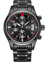 Bos hommes de sport montre à quartz Pointeur lumineux cadran noir chronographe bracelet en acier inoxydable (Red)