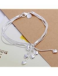 Unique Fashion 925bañado en plata joyería mano pulsera de cadena de cinco cadenas con cinco corazones