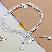 joyliveCY-Unique moda 925 ba?ado en plata joyer¨ªa mano pulsera de cadena de cinco cadenas con cinco corazones
