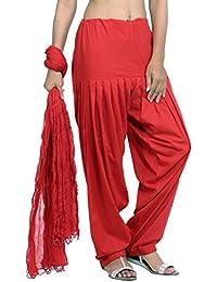 Jaipur Kurti Pure Cotton Patiala Salwar And Dupatta Set (Red)