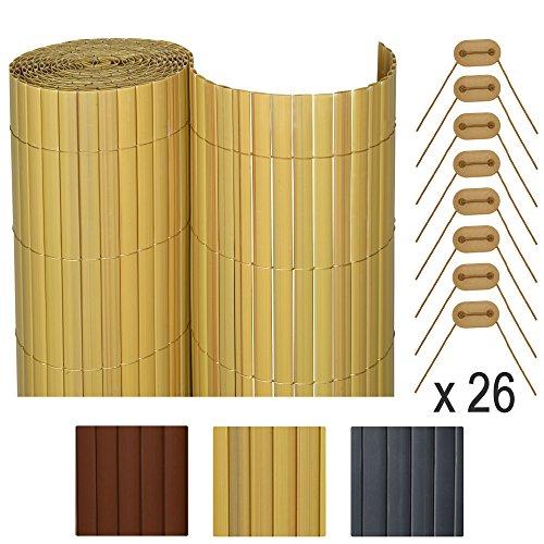 *Sol Royal SolVision P78 – PVC Sichtschutz Zaun 140 x 400 cm Natur stabiler Balkon & Garten Blickschutz & Windschutz*
