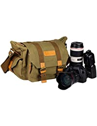 TARION® sac/sacoche bandoulière reflex sac d'épaule sac de caméra en canevas et coton pour appareil photo numérique DSLR objectif flash etc (Vert foncé)