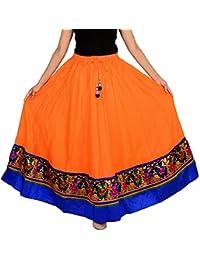 1d21bd9c145 Jingle impex orange banarasi boder lace work Cotton long Skirt for women (  free Size)