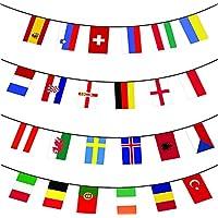 Unicoco Banderas Internacionales Banderines 24 pcs Bandera Colgante con Diferentes Paises 14*21cm National Flags Club Deportivo Bar