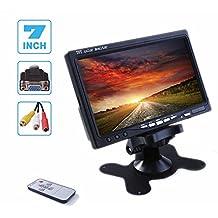 accfly 12V VGA LCD de 7pulgadas reposacabezas coche monitor para cámara de visión trasera dos Way entrada de vídeo (Resolución: 800* 480)