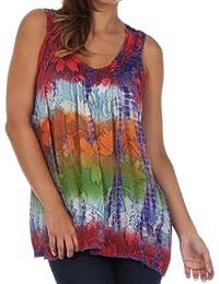 Sakkas Multi-Color Tie Dye Floral Sequin Sleeveless Blouse