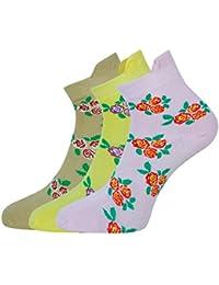 Montebello Women's Cotton Ankle Socks (Set of 3, Multi-Coloured)