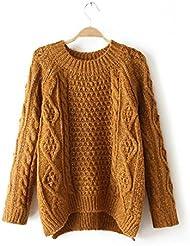 Nuevo suéter de cuello redondo del telar jacquar de moda femenina