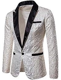 bc9421e3411f Eghunooye Herren Luxus Floral Party Kleid Anzug Revers Jacke Blazer Slim Fit  One Button Party Anzug Hochzeit Prom…