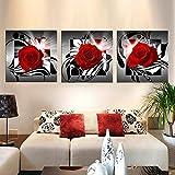 Raybre Art® 3pcs Impresión sobre Lienzo Cuadro Modernos Rosa Roja Flores Pintura Abstractos para Arte Pared Decoración Hogar, sin marco