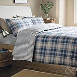 Catherine Lansfield - Juego de funda nórdica y funda de almohada de franela 100% algodón, diseño de rayas azules y blancas, mezcla de algodón, azul marino y blanco, King Size Fitted Sheet