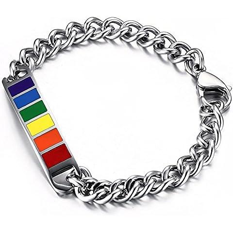 JewelryWe Gioielli Braccialetto dello schiavo LGTB Orgoglio, acciaio braccialetto bracciale in acciaio, World Pride Arcobaleno Felice Orgoglio, bracciale unisex