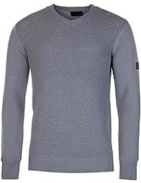 Firetrap pêcheur col en V en tricot Pull pour homme Bleu Pull Top