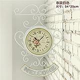 Creative reloj reloj de pared doble cara de hierro forjado de estilo ultra-reloj tranquilo salón jardín Art Deco ornamento de campana,8 pulgadas,B blanco