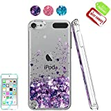 iPod Touch 6 Case, iPod Touch 5 Case with HD Screen Protector for Girls,Atump[Love Heart Series] Liquid Glitter Bling Sparkly TPU Clear Phone Cover for Apple iPod Touch 6th/5th Generation Purple