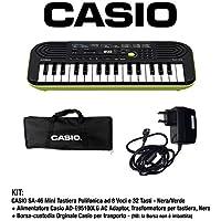 Casio SA-46 - Mini Tastiera polifonica 8 Voci e 32 tasti Nera/Verde + Borsa Custodia per Trasporto (non imbottita) Originale Casio + Casio AD-E95100LG AC Adaptor, Alimentatore per tastiera, Nero/Verde