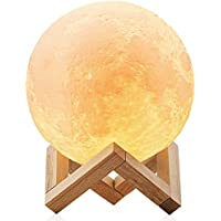 Lampara de luna LED 3D Moon Lamp - Recargable por USB 15cm, 3 colores, Lamparas infantiles (niña/niño/bebe) de mesa quitamiedos nocturna, Regalo perfecto para el salon, escritorio de habitacion, baño o cocina - ChillHil