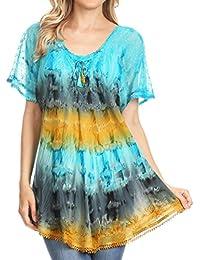 491de9dcd67e70 Sakkas 16786 - Monet Long Tall Tie Dye Ombre Embroidered Cap Sleeve Blouse  Shirt Top -